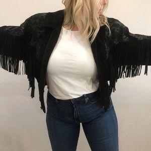 Cropped black leather suede fringe jacket size L